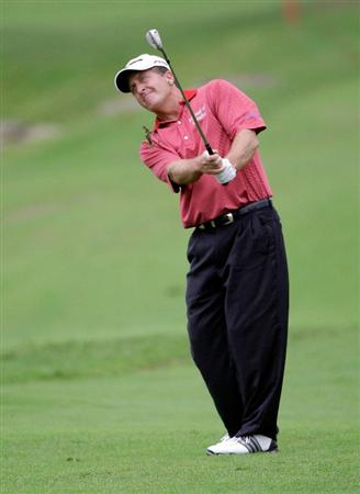 INCHEON, SOUTH KOREA - SEPTEMBER 11:  Fred Funk of United States plays a shot during day two of the PGA Champions Tour - Posco E&C Songdo Championship at Jack Nicklaus Golf Club on September 11, 2010 in Incheon, South Korea.  (Photo by Chung Sung-Jun/Getty Images)