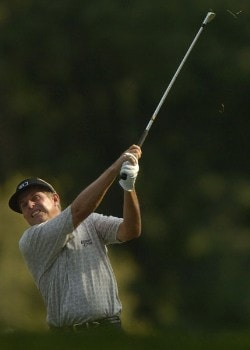 Wayne Levi hits out of the a bunker on the 18th fairway during the third round of the 2005 U.S. Senior Open Championship at NCR Country Club in Kettering, Ohio July 30, 2005.Photo by Steve Grayson/WireImage.com