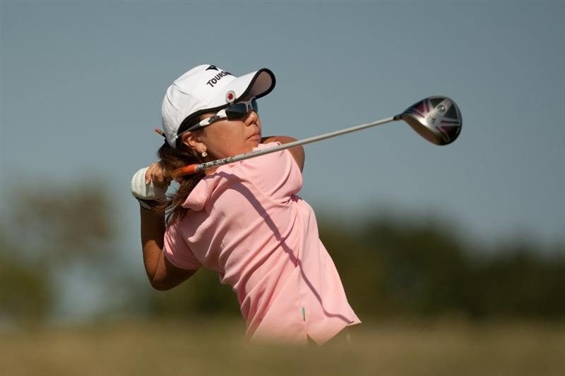 PRATTVILLE, AL - OCTOBER 8: Mika Miyazato of Japan follows through on a tee shot during the second round of the Navistar LPGA Classic at the Senator Course at the Robert Trent Jones Golf Trail  on October 8, 2010 in Prattville, Alabama. (Photo by Darren Carroll/Getty Images)