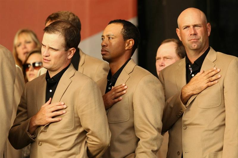 NEWPORT, WALES - OCTOBER 04:  USA Team members (L-R) Zach Johnson, Tiger Woods and Stewart Cink at the closing cermonies following Europe's 14.5 to 13.5 victory over the USA at the 2010 Ryder Cup at the Celtic Manor Resort on October 4, 2010 in Newport, Wales.  (Photo by Ross Kinnaird/Getty Images)