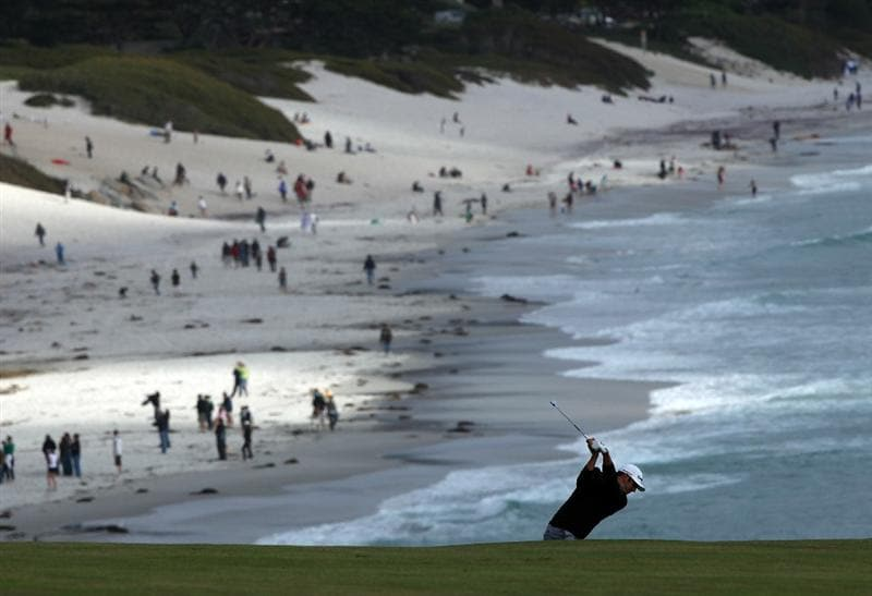 PEBBLE BEACH, CA - JUNE 19:  Dustin Johnson hits a shot on the ninth hole during the third round of the 110th U.S. Open at Pebble Beach Golf Links on June 19, 2010 in Pebble Beach, California.  (Photo by Donald Miralle/Getty Images)