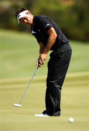 PERTH, AUSTRALIA - FEBRUARY 22:  Nick Dougherty of England putts during round four of the 2009 Johnnie Walker Classic at The Vines Resort and Country Club on February 22, 2009 in Perth, Australia.  (Photo by Ian Walton/Getty Images)
