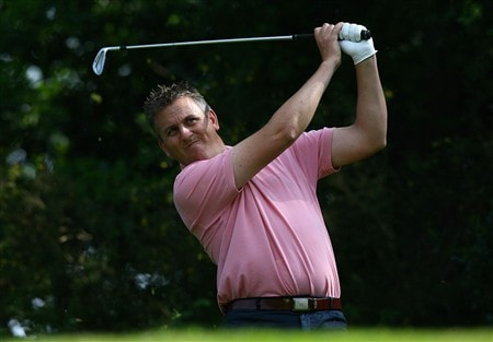 HINDHEAD, UNITED KINGDOM - MAY 22:  Paul Sherman of England hits his tee shot on the 10th during the Glenmuir PGA Professional Championship Southern Regional Qualifier at Hindhead Golf Club on May 22, 2008 in Hindhead, England.  (Photo by Ryan Pierse/Getty Images)