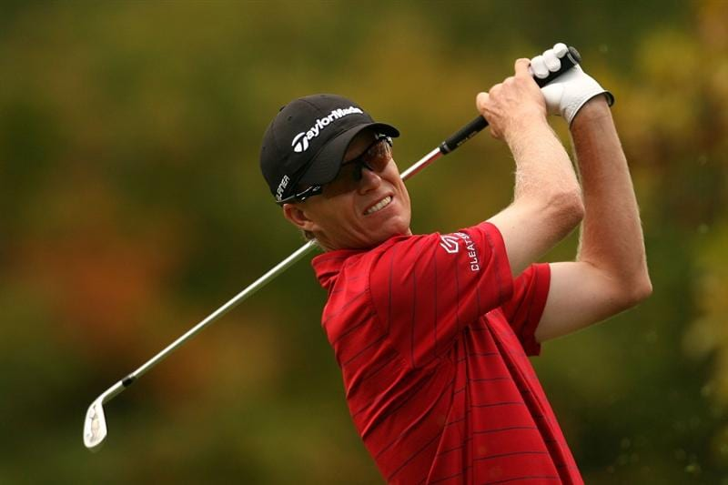 VERONA, NY - OCTOBER 04:  John Senden of Australia tees off on the 3rd hole during the final round of the 2009 Turning Stone Resort Championship at Atunyote Golf Club held on October 4, 2009 in Verona, New York.  (Photo by Chris Trotman/Getty Images)