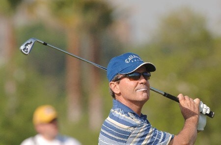 Mark McNulty drives from the eighth tee during the first round of the 2005 Liberty Mutual Legends of Golf tournament at the Westin Savannah Harbor Golf Resort & Spa on April 22, 2005 in Savannah, Georgia.Photo by Al Messerschmidt/WireImage.com
