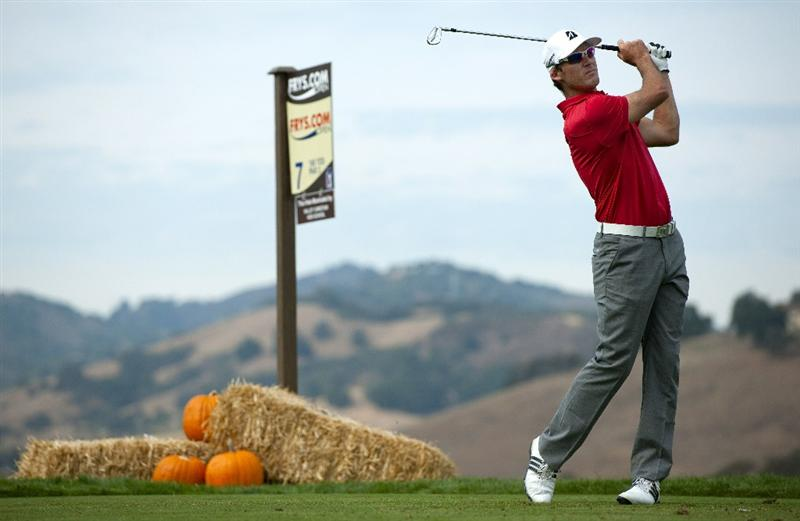 SAN MARTIN, CA - OCTOBER 16:  Will MacKenzie makes a tee shot on the seventh hole during the third round of the Frys.com Open at the CordeValle Golf Club on October 16, 2010 in San Martin, California.  (Photo by Robert Laberge/Getty Images)
