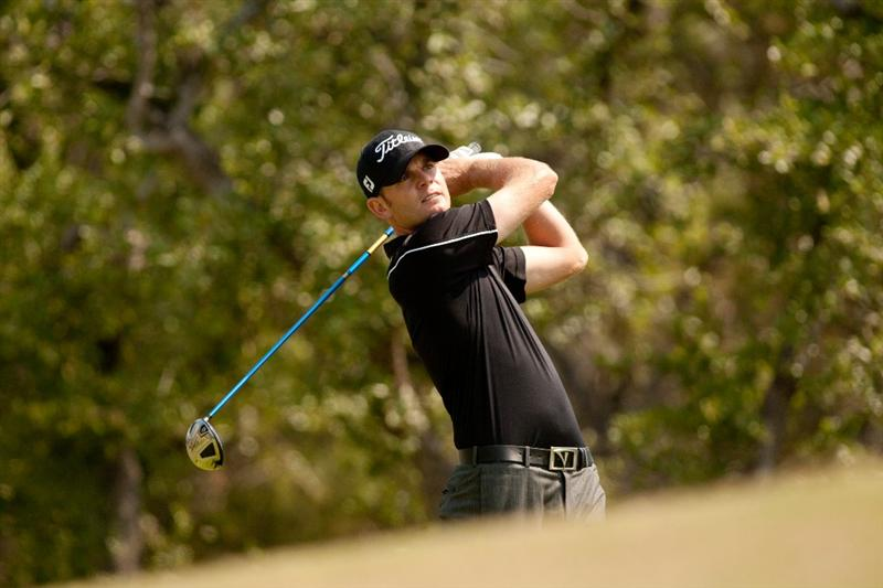 SAN ANTONIO, TX - APRIL 17: Brendan Steele follows through on a tee shot during the final round of the Valero Texas Open at the AT&T Oaks Course at TPC San Antonio on April 17, 2011 in San Antonio, Texas. (Photo by Darren Carroll/Getty Images)