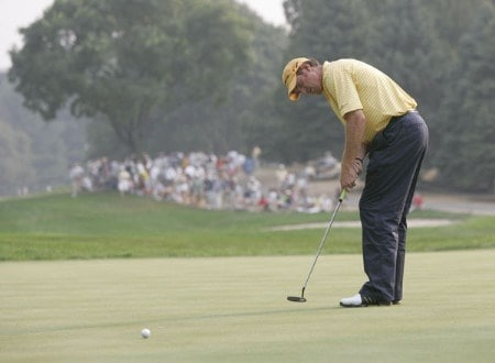 Greg Owen birdies the 17th hole during the third round of the 2005 PGA Championship at Baltusrol Golf Club in Springfield, New Jersey on August 13, 2005.Photo by Sam Greenwood/WireImage.com