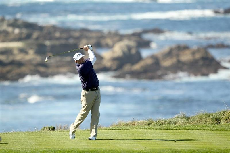PEBBLE BEACH, CA - FEBRUARY 10:  Steve Marino tees off on the fourth hole on the Spyglass Hill Golf Course during Round One of the AT&T Pebble Beach National Pro-Am on February 10, 2011 in Pebble Beach, California.  (Photo by Ezra Shaw/Getty Images)