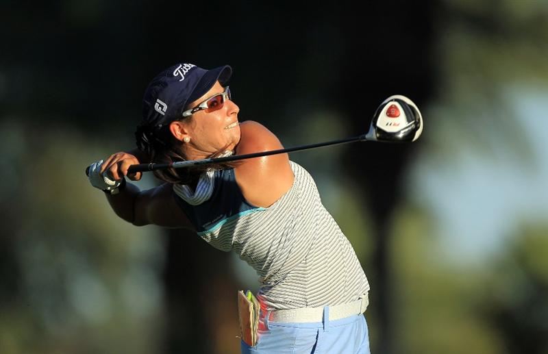 RANCHO MIRAGE, CA - APRIL 01:  Mariajo Uribe of Colombia plays her tee shot at the 16th hole during the second round of the 2011 Kraft Nabisco Championship on the Dinah Shore Championship Course at the Mission Hills Country Club on April 1, 2011 in Rancho Mirage, California.  (Photo by David Cannon/Getty Images)