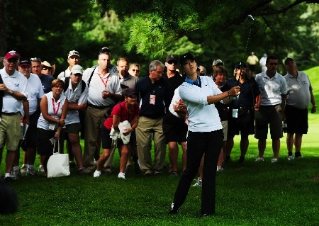 OTTAWA - AUGUST 15:  Michelle Wie looks at her shot out of the rough on the 15th hole during the second round of the CN Canadian Women's Open at the Ottawa Hunt and Golf Club on August 15, 2008 in Ottawa, Ontario, Canada.  (Photo by Robert Laberge/Getty Images)