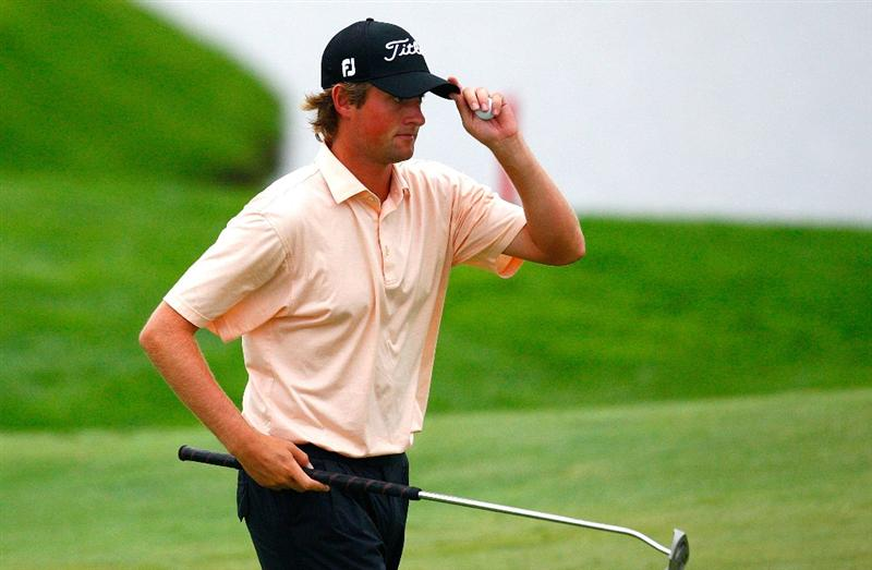 JERSEY CITY, NJ - AUGUST 28:  Webb Simpson acknowledges the gallery after he saved par on the fourth green during round two of The Barclays on August 28, 2009 at Liberty National in Jersey City, New Jersey.  (Photo by Kevin C. Cox/Getty Images)