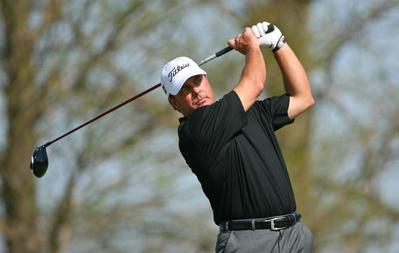 BROUSSARD, LA - MARCH 26: Vance Veazey hits his tee shot on the 14th hole during the second round of the Chitimacha Louisiana Open at Le Triomphe Country Club on March 26, 2010 in Broussard, Louisiana. (Photo by Hunter Martin/Getty Images)