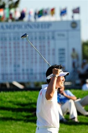 CHASKA, MN - AUGUST 16:  Y.E. Yang of South Korea celebrates a birdie putt on the 18th green during the final round of the 91st PGA Championship at Hazeltine National Golf Club on August 16, 2009 in Chaska, Minnesota.  (Photo by Sam Greenwood/Getty Images)