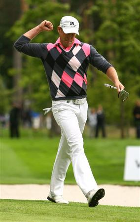 MALMO, SWEDEN - JULY 26:  Jamie Donaldson of Wales celebrates a shot on the 17th green during Round Four of the SAS Masters at the Barseback Golf & Country Club on July 26, 2009 in Malmo, Sweden.  (Photo by Ian Walton/Getty Images)
