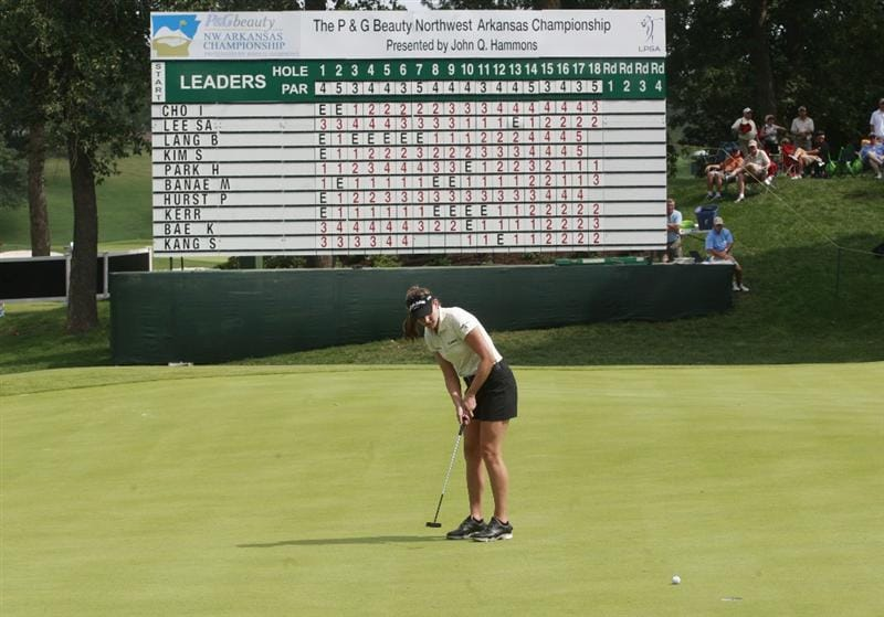 ROGERS, AR - SEPTEMBER 11:  Brittany Lang watches her putt on the 18th green during first round play in the P&G Beauty NW Arkansas Championship at the Pinnacle Country Club on September 11, 2009 in Rogers, Arkansas.  (Photo by Dave Martin/Getty Images)