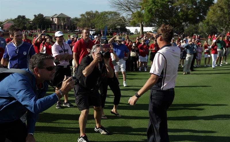 ORLANDO, FL - MARCH 14: Ian Poulter of England playing for the Albany Club arrives on the 1st fairway during the first day of the 2011 Tavistock Cup at Isleworth Golf Club on March 14, 2011 in Orlando, Florida.  (Photo by David Cannon/Getty Images)
