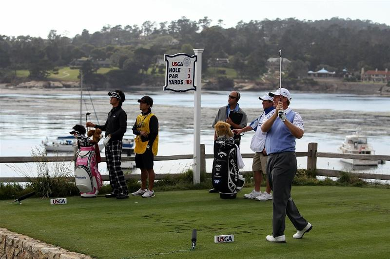 PEBBLE BEACH, CA - JUNE 19:  Ernie Els of South Africa watches his tee shot on the seventh tee during the third round of the 110th U.S. Open at Pebble Beach Golf Links on June 19, 2010 in Pebble Beach, California.  (Photo by Ross Kinnaird/Getty Images)