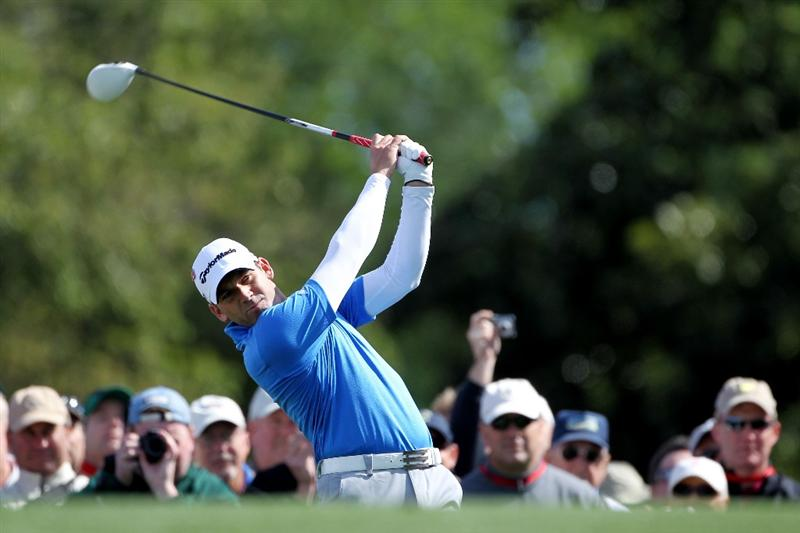 AUGUSTA, GA - APRIL 05:  Sergio Garcia of Spain hits a shot during a practice round prior to the 2011 Masters Tournament at Augusta National Golf Club on April 5, 2011 in Augusta, Georgia.  (Photo by Jamie Squire/Getty Images)
