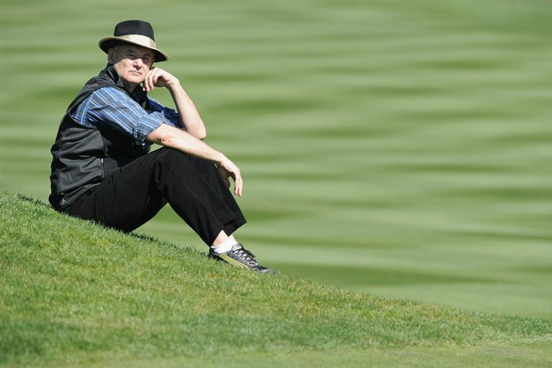 PEBBLE BEACH, CA - FEBRUARY 09:  Actor Bill Murray ponders a shot during the 3M Celebrity Challenge at the AT&T Pebble Beach National Pro-Am at Pebble Beach Golf Links on February 9, 2011  in Pebble Beach, California.  (Photo by Stuart Franklin/Getty Images)