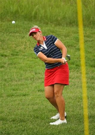 GLADSTONE, NJ - MAY 23: Angela Stanford hits her third shot on the 15th hole during the final round of the Sybase Match Play Championship at Hamilton Farm Golf Club on May 23, 2010 in Gladstone, New Jersey. (Photo by Hunter Martin/Getty Images)