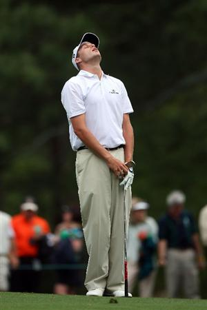 AUGUSTA, GA - APRIL 10:  Nick Watney reacts to his tee shot on the 12th hole during the second round of the 2009 Masters Tournament at Augusta National Golf Club on April 10, 2009 in Augusta, Georgia.  (Photo by Andrew Redington/Getty Images)