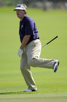 NAPLES, FL - FEBRUARY 16: Bob Gilder reacts to a missed putt on the 16th hole during the second round of the ACE Group Classic at Quail West on February 16, 2008 in Naples, Florida. (Photo by Scott A. Miller/Getty Images)