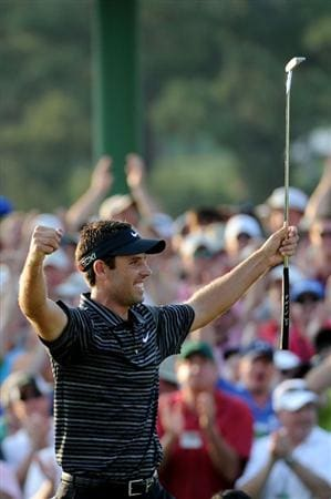 AUGUSTA, GA - APRIL 10:  Charl Schwartzel of South Africa celebrates his two-stroke victory on the 18th green during the final round of the 2011 Masters Tournament at Augusta National Golf Club on April 10, 2011 in Augusta, Georgia.  (Photo by Harry How/Getty Images)