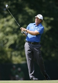 PARAMUS, NJ - AUGUST 23: Phil Mickelson hits his second shot on the 7th hole during the third round of The Barclays at Ridgewood Country Club on August 23, 2008 in Paramus, New Jersey. (Photo by Hunter Martin/Getty Images)
