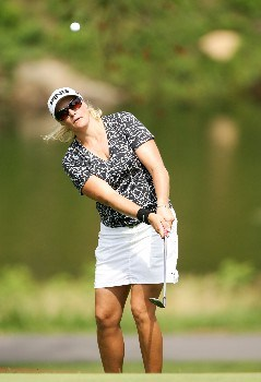 NEW ROCHELLE, NY - JULY 20:  Maria Hjorth of Sweden chips to the green on the 7th hole  during the second round of the HSBC Women's World Match Play at Wykagyl Country Club on July 20, 2007 in New Rochelle, New York. (Photo by Sam Greenwood/Getty Images)