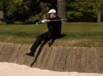 Stephen Leaney slides into a bunker on the 12th green during the final round of the 2007 Verizon Heritage at the Harbour Town Golf Links in Hilton Head, South Carolina on April 16, 2007. PGA TOUR - 2007 Verizon Heritage - Final Round Continuation - April 16, 2007Photo by Steve Grayson/WireImage.com