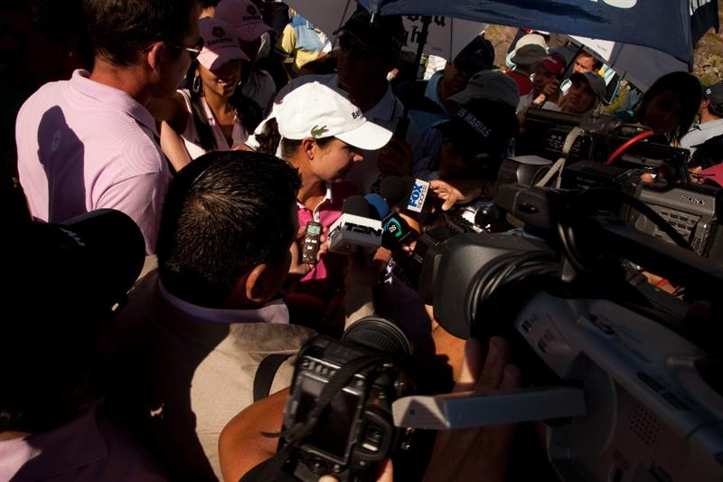 MORELIA, MEXICO - MAY 2: Lorena Ochoa of Mexico is surrounded by media following the fourth round of the Tres Marias Championship at the Tres Marias Country Club on May 2, 2010 in Morelia, Mexico. (Photo by Darren Carroll/Getty Images)