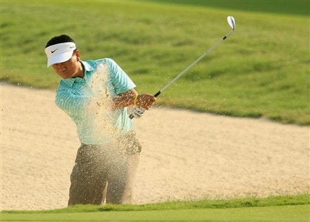 PONTE VEDRA BEACH, FL - MAY 09:  K.J. Choi of South Korea plays from a bunker on the 11th hole during the second round of the THE PLAYERS Championship on THE PLAYERS Stadium Course at TPC Sawgrass on May 9, 2008 in Ponte Vedra Beach, Florida.  (Photo by Scott Halleran/Getty Images)