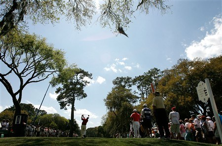 HILTON HEAD, SC - APRIL 20:  Boo Weekley hits hits his tee shot on the 3rd hole during the final round of the Verizon Heritage at Harbour Town Golf Links on April 20, 2008 in Hilton Head, South Carolina.  (Photo by Streeter Lecka/Getty Images)
