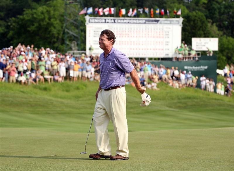 LOUISVILLE, KY - MAY 29:  Tom Watson waves to the crowd after winning the Senior PGA Championship presented by KitchenAid in a one hole playoff at Valhalla Golf Club on May 29, 2011 in Louisville, Kentucky.  (Photo by Andy Lyons/Getty Images)