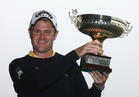 MADEIRA, PORTUGAL - MARCH 23:  Alastair Forsyth of Scotland poses with his trophy after winning the Madeira Islands Open BPI 2008 at Clube De Golf Santo Da Serra on March 23, 2008 in Madeira, Portugal.  (Photo by Ryan Pierse/Getty Images)
