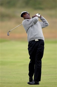 BIRKDALE, UNITED KINGDOM - JULY 14:  Vijay Singh of Fiji plays on the 13th hole during the first practice round of the 137th Open Championship on July 14, 2008 at Royal Birkdale Golf Course, England.  (Photo by Stuart Franklin/Getty Images)