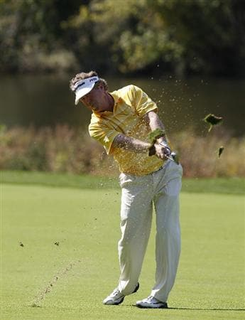 POTOMAC, MD - OCTOBER 10: Michael Allen hitshis second shot on the 12th hole during the final round of the Constellation Energy Senior Players Championship held at TPC Potomac at Avenel Farm on October 10, 2010 in Potomac, Maryland.  (Photo by Michael Cohen/Getty Images)