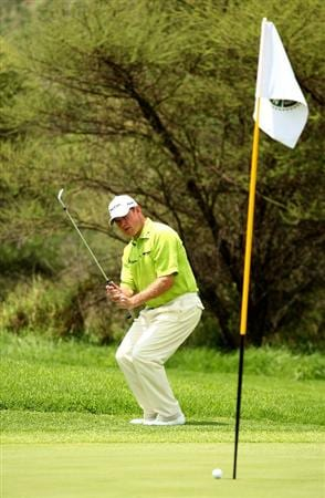 SUN CITY, SOUTH AFRICA - DECEMBER 04:  Lee Westwood of England reacts as he nearly chips in on the 7th during the first round of the Nedbank Golf Challenge at the Gary Player Country Club on December 4, 2008 in Sun City, South Africa.  (Photo by Richard Heathcote/Getty Images)