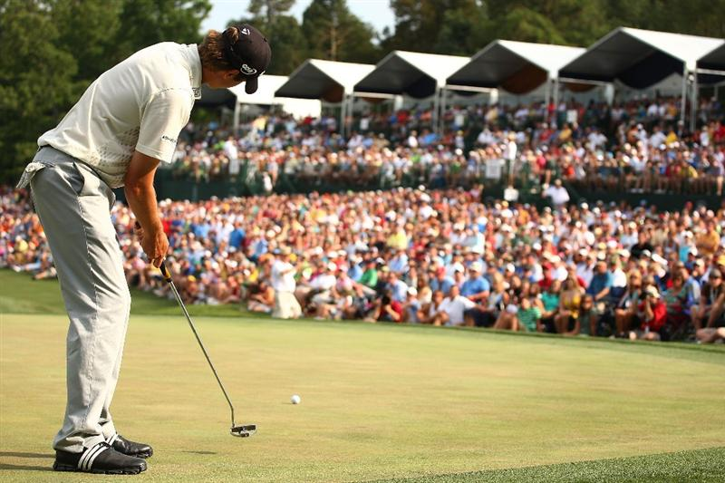 CHARLOTTE, NC - MAY 03:  Sean O'Hair watches his birdie attempt on the 18th green during the final round of the Quail Hollow Championship at the Quail Hollow Club on May 3, 2009 in Charlotte, North Carolina.  (Photo by Scott Halleran/Getty Images)