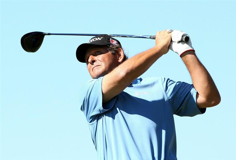 CONOVER, NC - OCTOBER 02:  Fulton Allem hits a tee shot on the 18th hole during the second round of the Ensure Classic at the Rock Barn Golf & Spa on October 2, 2010 in Conover, North Carolina.  (Photo by Christian Petersen/Getty Images)