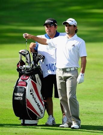 HILVERSUM, NETHERLANDS - SEPTEMBER 11:  Fabrizio Zanotti of Paraguy and caddie on the 17th hole during the third round of  The KLM Open Golf at The Hillversumsche Golf Club on September 11, 2010 in Hilversum, Netherlands.  (Photo by Stuart Franklin/Getty Images)