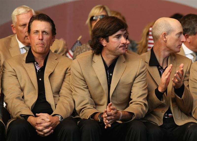 NEWPORT, WALES - OCTOBER 04: (L-R) Phil Mickelson, Bubba Watson and Jim Furyk of Team USA during the Closing Ceremony of the 2010 Ryder Cup at the Celtic Manor Resort on October 4, 2010 in Newport, Wales. (Photo by Ross Kinnaird/Getty Images)