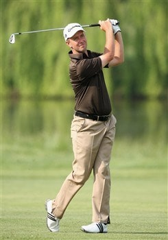 MILAN, ITALY - MAY 09:  Mark Foster of England plays his approach shot on the seventh hole during the second round of the MC Methorios Capital Italian Open Golf at The Castello Di Tolcinasco Golf Club on May 9, 2008 in Milan, Italy.  (Photo by Stuart Franklin/Getty Images)