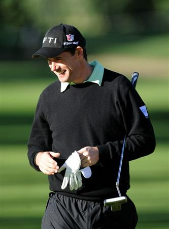 PACIFIC PALISADES, CA - FEBRUARY 17:  Padraig Harrington of Ireland smilies as he leaves the green on the 11th hole during the first round of the Northern Trust Open at the Riviera Country Club on February 17, 2011 in Pacific Palisades, California.  (Photo by Harry How/Getty Images)