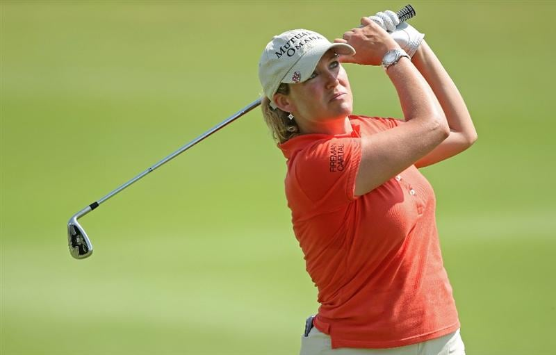 SINGAPORE - FEBRUARY 26:  Cristie Kerr of the USA hits her second shot on the seventh hole during the second round of the HSBC Women's Champions at the Tanah Merah Country Club on February 26, 2010 in Singapore.  (Photo by Andrew Redington/Getty Images)