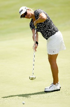 NEW ROCHELLE, NY - JULY 20: Maria Hjorth of Sweden putts on the 8th hole during the second round of the HSBC Women's World Match Play at Wykagyl Country Club on July 20, 2007 in New Rochelle, New York. (Photo by Sam Greenwood/Getty Images)