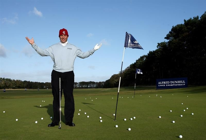 KINGSBARNS, SCOTLAND - OCTOBER 03:  David Howell of England poses for a photograph on the putting green as high winds cause the abandonment of the third round of The Alfred Dunhill Links Championship at Kingsbarns Golf Links on October 3, 2009 in St. Andrews, Scotland. (Photo by Andrew Redington/Getty Images)
