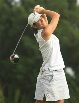 MT. PLEASANT, SC - MAY 30:  Laura Diaz tees off on the 11th hole during the second round of the Ginn Tribute at RiverTowne Country Club on May 30, 2008 in Mt. Pleasant, South Carolina.  (Photo by Scott Halleran/Getty Images)