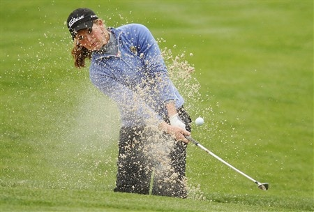CORNING, NY - MAY 22:   Anna Grzebien hits her third shot from the sand on the eighth hole during the first round of the LPGA Corning Classic at Corning Country Club May 22, 2008 in Corning, New York.  (Photo by Kyle Auclair/Getty Images)